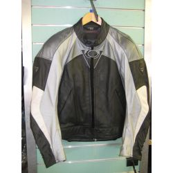 Revitt Black/Silver Leather Motorcycle Jacket