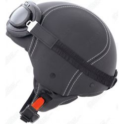 Caberg Century Black Leather Helmet With Goggles