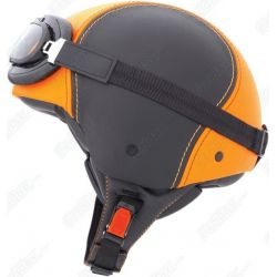 Caberg Century Black/Orange Leather Helmet With Goggles