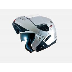 MT Raptor Flip Front Helmet with Internal Visor Silver