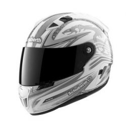 Schuberth SR1 Raceline White/Silver S/G Motorcycle Helmet