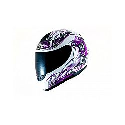 MT Kids Thunder Full Face Motorcycle Helmet Butterfly White Purple