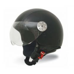 MT Retro Leather Open Face Helmet Matt Black