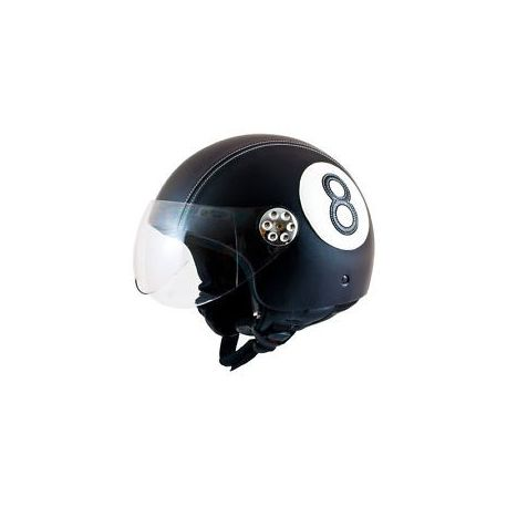 MT Retro Leather Graphic Open Face Helmet NO.8