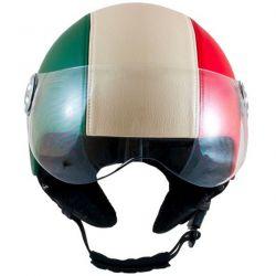 MT Retro Leather Graphic Open Face Helmet Italian