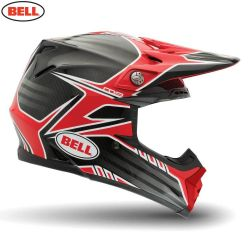 Bell 2014 MX Helmet (Adult) Moto 9 Carbon Pinned Red