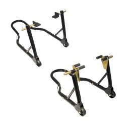 MOTOGP RACE SERIES ROUND TUBING TRACK STAND SET - FRONT & REAR STANDS - BLACK